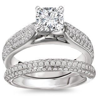Avanti Rhodium-plated Sterling Silver Round Pave Cubic Zirconia Bridal Ring Set