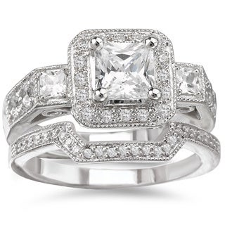 Avanti Rhodium Plated Sterling Silver Cubic Zirconia Square Halo Vintage Style Bridal Ring Set