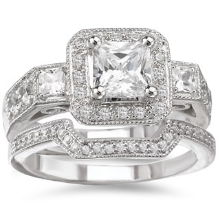 Avanti Rhodium-plated Sterling Silver Cubic Zirconia Square Halo Vintage-style Bridal Ring Set