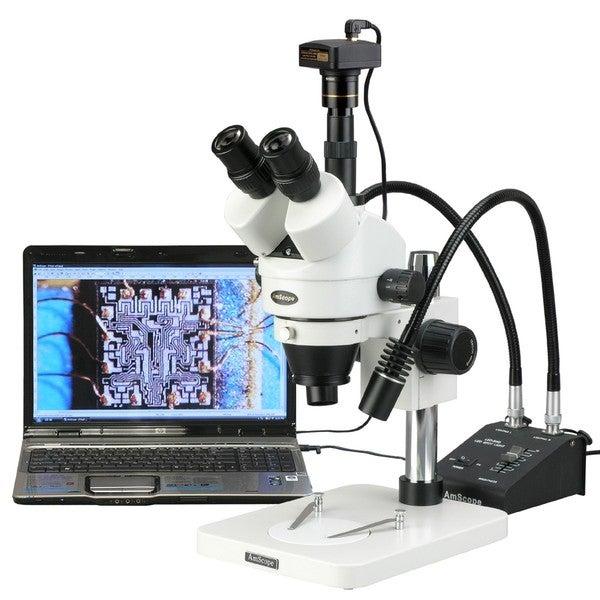3.5X-225X Zoom Stereo Microscope w Gooseneck LED Lights + 1.3MP Digital Camera