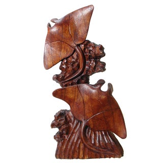 Manta Ray Double Coral Reef Effect Base Wood Figurine (Indonesia)