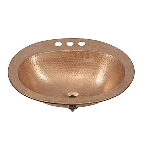 """Sinkology Kelvin 20"""" Drop-In Hand-crafted Copper Unfinished Bath Sink - Gold"""