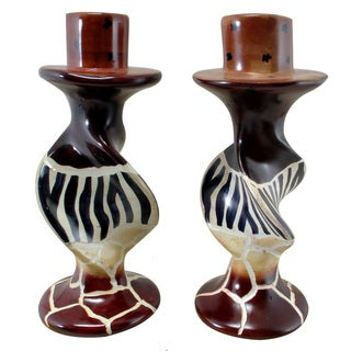 Animal Stripes on Bold Twists Soapstone Pair of Candleholders (Kenya)