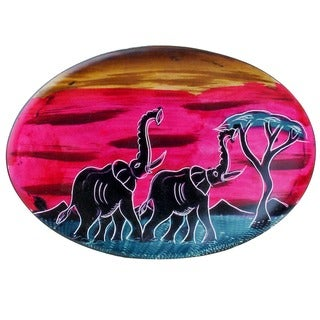 "Handmade African Sunset Oval Soapstone Plate - 6"" x 10"" (Kenya)"