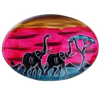 "Handmade African Sunset Oval Soapstone Plate (Kenya) - 6"" x 10"""