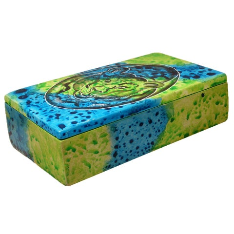 Handmade Rectangle Bahari Tiger Soapstone Trinket Box (Kenya)