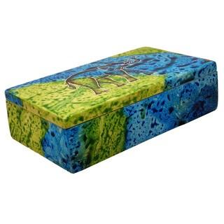 Handmade Rectangle Bahari Elephant Soapstone Trinket Box (Kenya)
