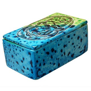 Bahari Tiger Soapstone Trinket Pin Box (Kenya)