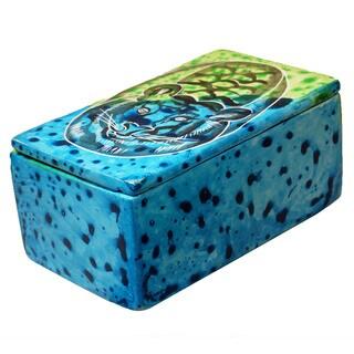 Handmade Bahari Tiger Soapstone Trinket Pin Box (Kenya)