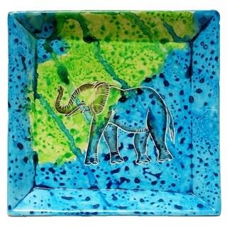 Handmade Bahari Elephant Stone Square Tray (Kenya)