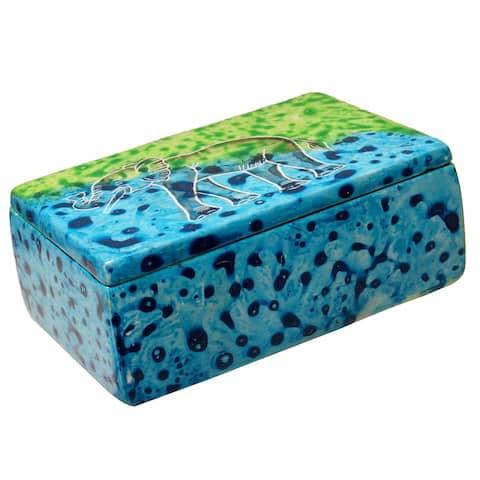 Handmade Bahari Elephant Soapstone Trinket Pin Box (Kenya)
