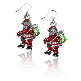 Sterling Silver Santa Claus Charm Earrings