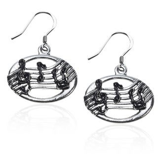 Sterling Silver Musical Notes Charm Earrings