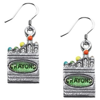 Sterling Silver Crayons Charm Earrings