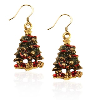 Gold over Silver Christmas Tree Charm Earrings