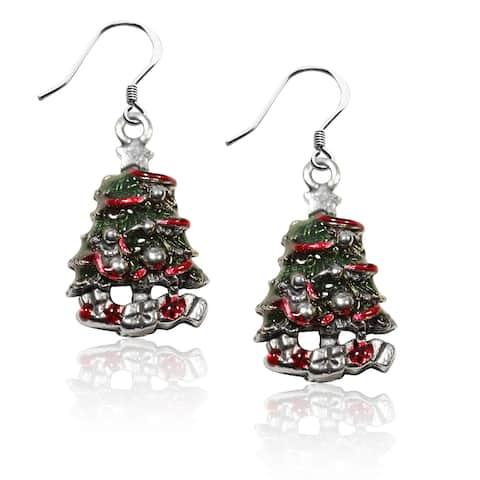Sterling Silver Christmas Tree Charm Earrings