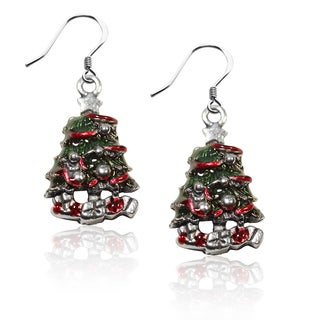 Sterling Silver Christmas Tree Charm Earrings