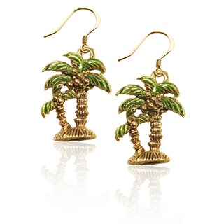 Gold over Silver Palm Trees Charm Earrings