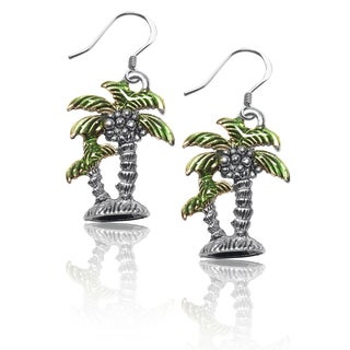 Whimsical Sterling Silver Palm Tree Charm Earrings