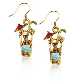 Gold over Silver Cocktail Drink Charm Earrings