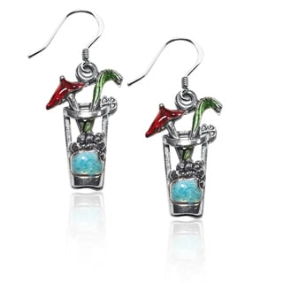 Sterling Silver Cocktail Drink Charm Earrings