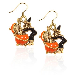 Gold over Silver Witch Charm Earrings