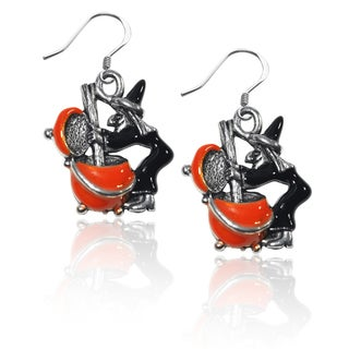 Sterling Silver Witch Charm Earrings