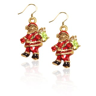 Gold over Silver Santa Claus Charm Earrings