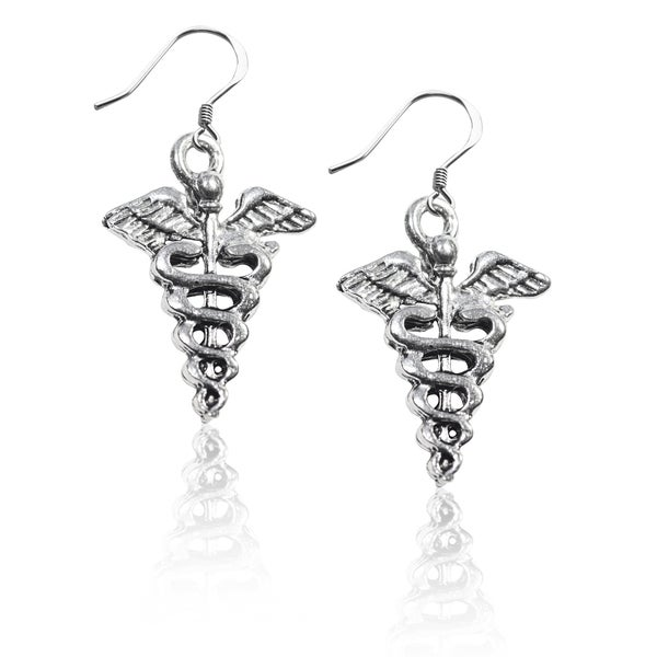 Sterling Silver Medical Symbol Charm Earrings