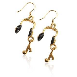 Gold over Silver Headphones Charm Earrings