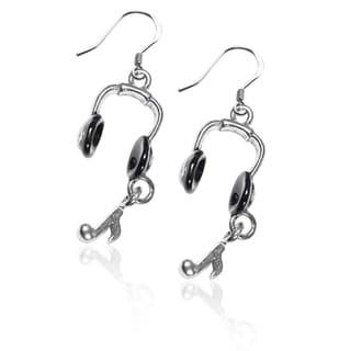 Sterling Silver Headphones Charm Earrings