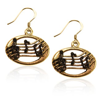 Gold over Silver Disc with Musical Notes Charm Earrings