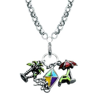 Silver Overlay Summer Fun in the Sun Charm Necklace