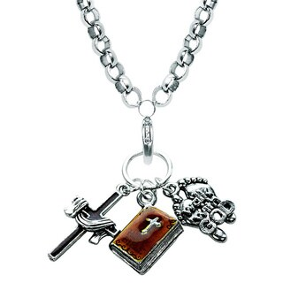 Silver Overlay Religious Charm Necklace