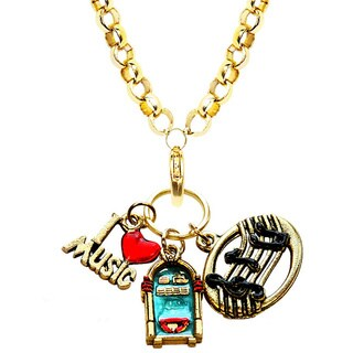 Gold Overlay Music Lover Charm Necklace