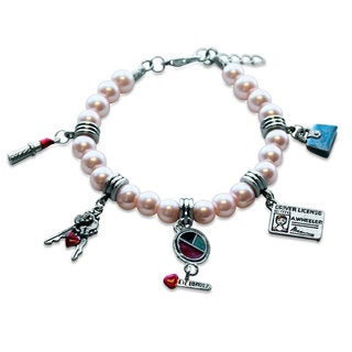 Sterling Silver Teen Girl Glass Charm Bracelet