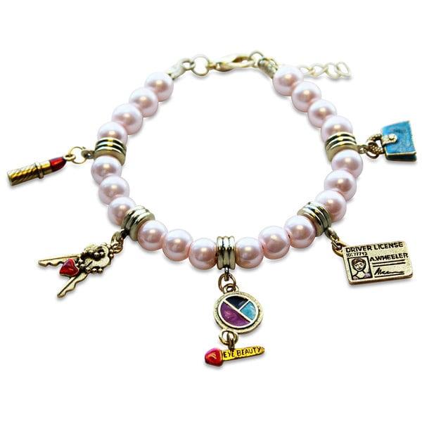 Gold Overlay Teen Girl Glass Charm Bracelet