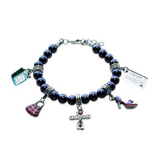 Sterling Silver Shopper Mom Glass Charm Bracelet