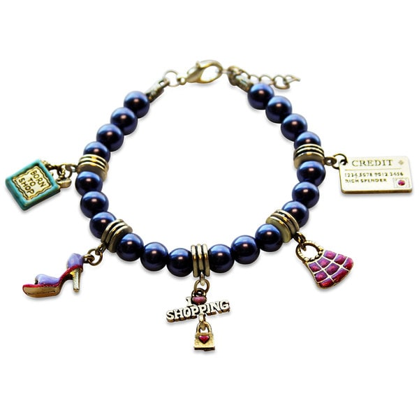 Gold Overlay Shopper Mom Glass Charm Bracelet