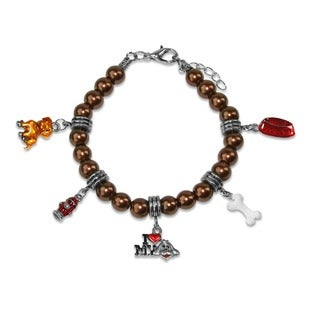 Sterling Silver Love My Dog Glass Charm Bracelet