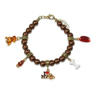 Gold Overlay Love My Dog Glass Charm Bracelet