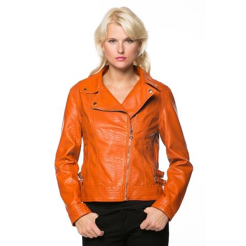 High Secret Women's Orange Zip-up Faux Leather Moto Jacket