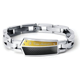 Tonino Lamborghini Energia Stainless Steel and Carbon Fiber Bracelet