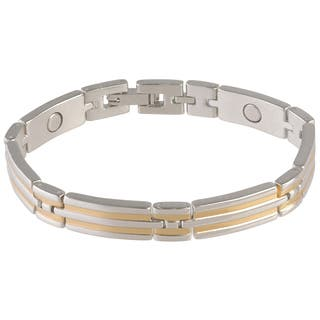 Two Tone Steel Magnetic Bracelet|https://ak1.ostkcdn.com/images/products/10310715/P17422778.jpg?impolicy=medium