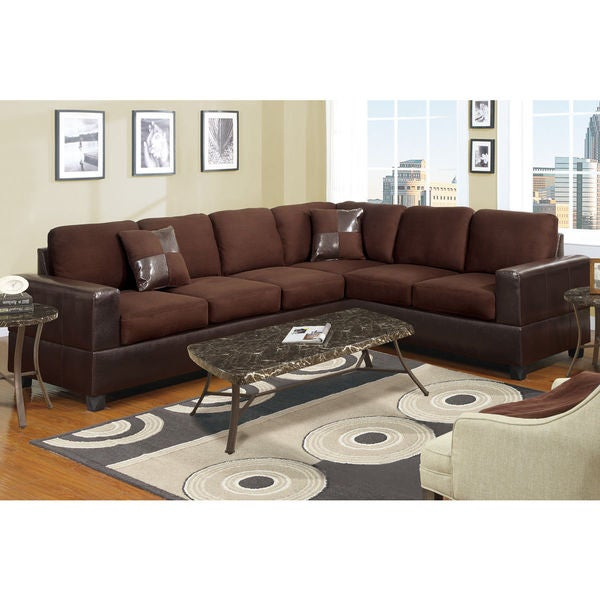 Shop 2-piece Modern Microfiber and Faux Leather Sectional Sofa ...