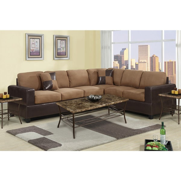 2-piece Modern Microfiber and Faux Leather Sectional Sofa - Free Shipping Today - Overstock.com - 17424922  sc 1 st  Overstock.com : faux leather sectional sofa - Sectionals, Sofas & Couches