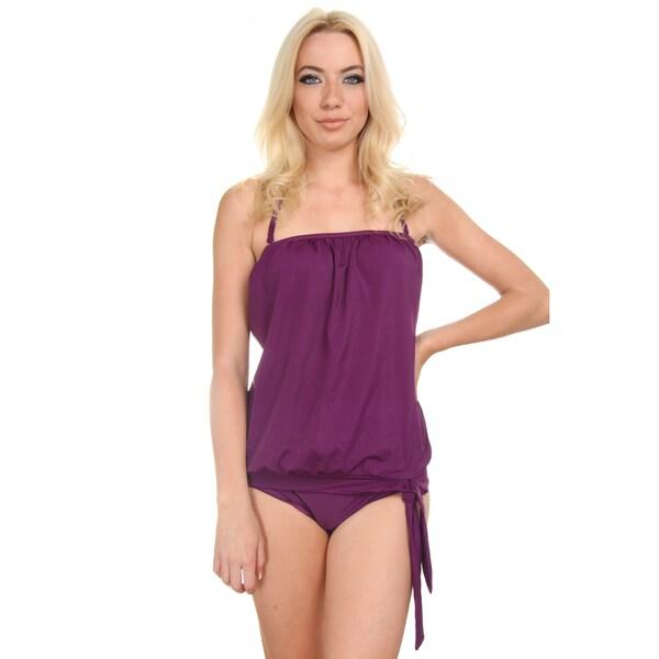 Women's Solid Purple Bandeau Blouson Tie Tankini