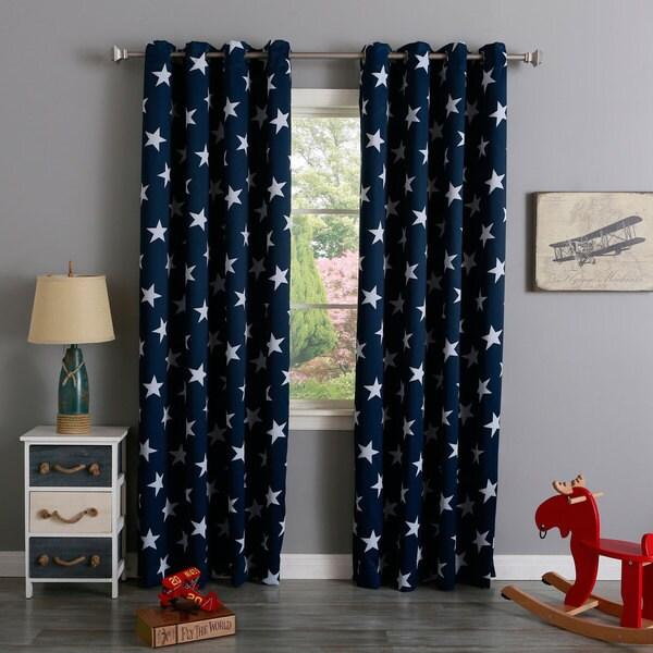 Aurora Home Room Darkening Big Star Print Silver Grommet Top Curtain Panel Pair
