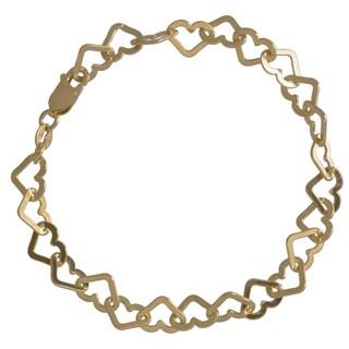 Sterling Silver Italian Heart Link Bracelet