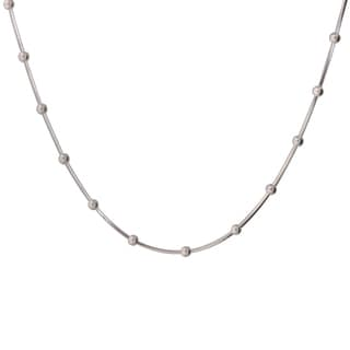 Sterling Silver Italian 20-inch Square Snake Beaded Necklace
